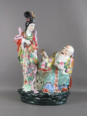 Large Statue Chinese Sculpture Porcelain Painted 20.9lbs Period Xx Century