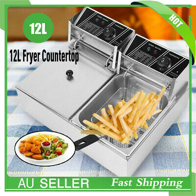 Commercial Deep Fryer Double Electric Basket Benchtop Cooker  Stainless Steel