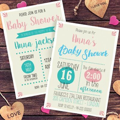 Personalised Baby Shower Invitations 24 hour dispatch Invites Free Envelopes