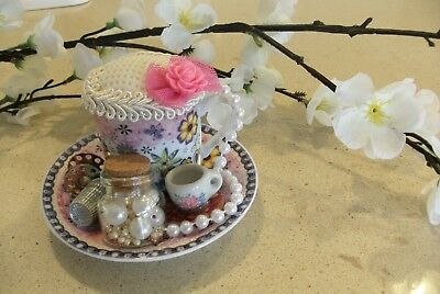 Unique handmade teacup pin cushion pin keep sewing gift OOAK pink pearls thimble