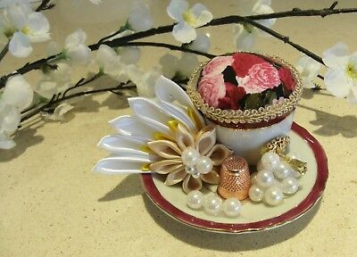 Unique handmade teacup pin cushion pin keep sewing gift OOAK pearl thimble rose