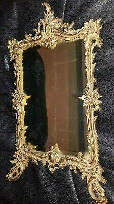Antique Cast Metal Ornate Tabletop W/Beveled Mirror
