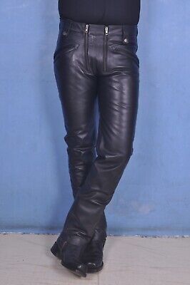 Leather leder jeans hose double front zip fetish made to measure bluf gay DE
