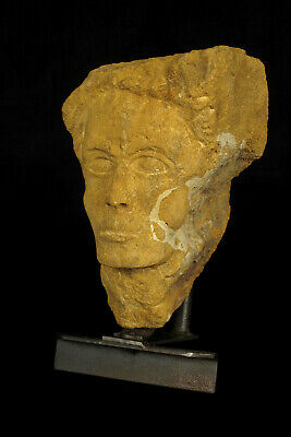 Interesting vestige of sculpture, French antique carved yellow stone circa 1850
