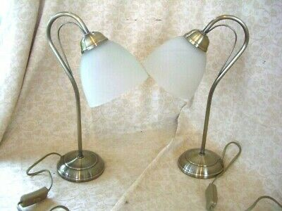 Pair of bedside table lamps, swan neck type traditional Antique Bronze~from BHS