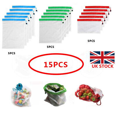 9/15Pcs Reusable Mesh Produce Bags Grocery Fruit Vegetable Storage Shopping Eco