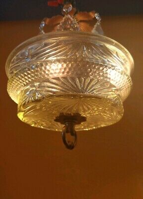 Antique Vintage Small Hallway Cut Glass Chandelier with Crystal prisms. 4 lights
