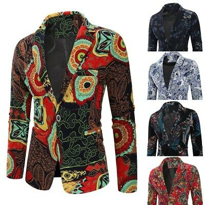 Newest Mens Ethnic Printed Dress Floral Casual Suit Slim Fit Blazer Coat Jacket