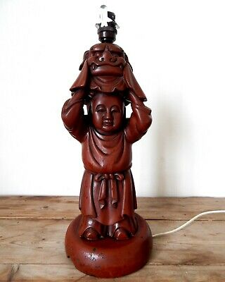 Large Vintage Chinese Buddha & Dog Statue Table Lamp Light Base Antique Wood