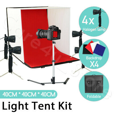 "Portable Photo Studio Lighting 16"" Light Tent Kit Soft Box Background Backdrop"