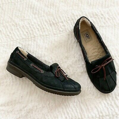 f59de0a8d5f UGG AUSTRALIA HAYLIE Leather Duck Boat Shoes Womens Size 10 M Black Brown  Lined