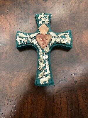 "Sacred Heart Tin Milagros Mexican Wood Cross Wall Hanging  7"" Folk Art Cross"
