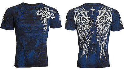 ARCHAIC by AFFLICTION Mens T-Shirt SPIKE WINGS Tattoo BLACK BLUE Biker $40