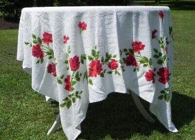Vintage Red Rose Flower Wilendure Label White Terry Cotton Tablecloth 54 x 62