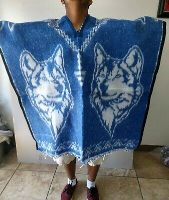 Mexican Poncho , Wolf , Blanket,Sarape ,Gaban , One Size Fits All , Blue