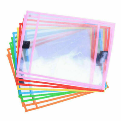 10pcs PVC Dry Erase Pocket Sleeves Write and Wipe Pockets Paper Kids Saver Tool