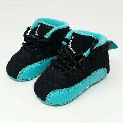 new product f20a1 ac7a4 NIKE AIR JORDAN 12 XII (Infant Baby Size 1C) Soft Bottom Crib Shoes Black  Aqua