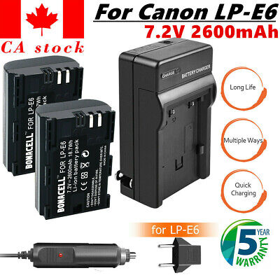 CA 2x LP-E6 LPE6 Battery +Charger For Canon EOS 5DS 5D Mark II Mark III 6D 7D UB