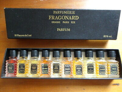Vintage Creations Fragonard Set of 10 x  Mini Perfume Parfum Bottles 2 ml