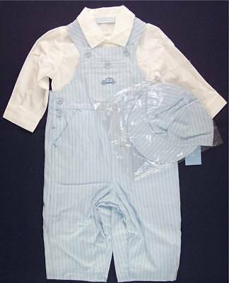 NWT First Impressions Infant Boy's 3 Pc. Blue Overalls Set Outfit, 6-9M, $32