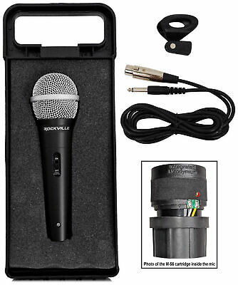 """Rockville RMC-XLR High-End Metal DJ Handheld Wired Microphone Mic w 1/4"""" Cable"""