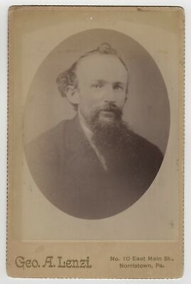 Victorian Cabinet Card Man With Interesting Hair and Beard Norristown PA