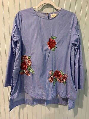 Velzera Women's blue & white striped blouse w/ Embroidered Flowers Size L