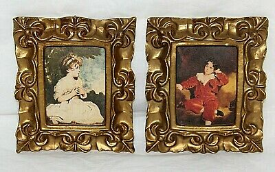 Vintage Italian Florentine Gold Gilt Ornate Tole Wood Frame Set w/ Prints Italy