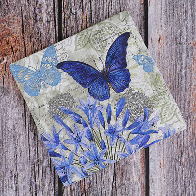 20PCS Napkins paper Decoupage Tissue Purple Flowers Butterfly wedding birthday