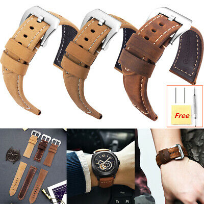 Men's Replacement Watch Band Soft Genuine Leather Watch Strap 20,22,24,26mm