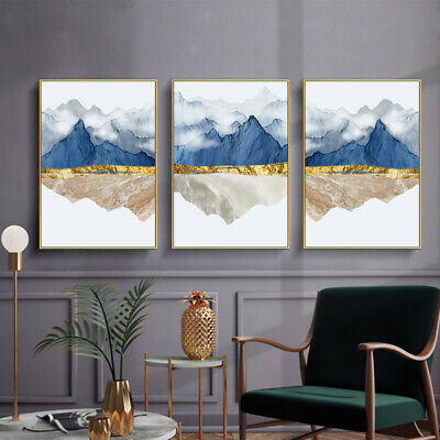 Mountain Reflection Marble Abstract Poster Canvas Wall Print Modern Home Decor
