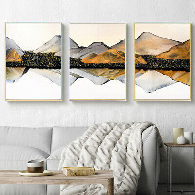 Mountain Reflection Nordic Abstract Poster Canvas Wall Print Modern Home Decor