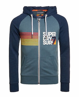 New Mens Superdry No 7 Surf Lite Raglan Zip Hoodie Neptune Blue Marl