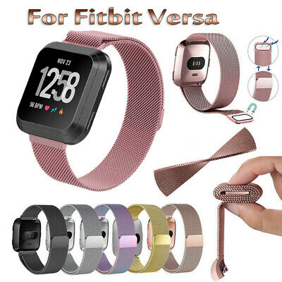 Magnetic Milanese Stainless Watch Wrist Band Strap For Fitbit Versa Smart Watch