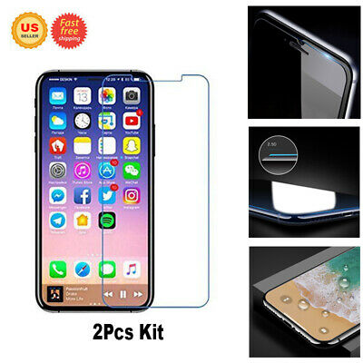 US 2Pcs Kit / Tempered glass film Screen Protector For iPhone X XS 6 Plus 6S 7 8