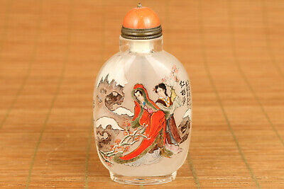 chinese old glass hand painting hongloumeng snuff bottle
