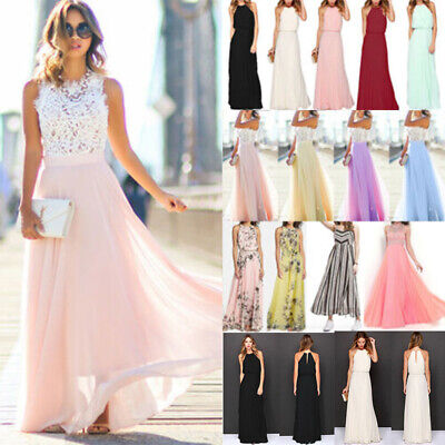 Womens Chiffon Evening Party Ball Gown Prom Wedding Bridesmaid Long Maxi Dress