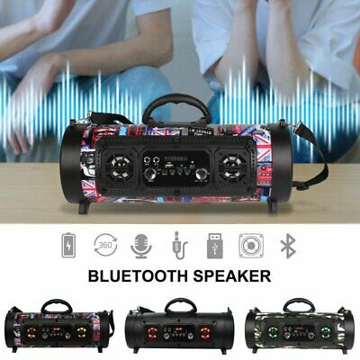 Portable Stereo Wireless Boombox Bluetooth Speaker HIGH BASS FM Radio+LED Light