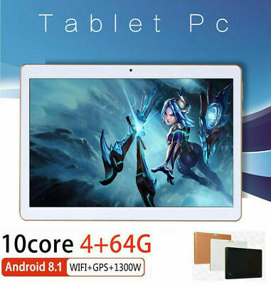 10.1'' Tablet Android 8.1 Bluetooth PC 4+64G ROM 2 SIM GPS Smartphone WIFI Pad d