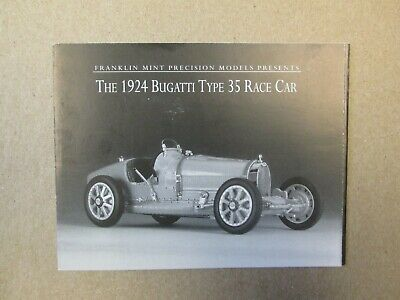 Franklin Mint Paperwork 1924 Bugatti Type 35 Race Car