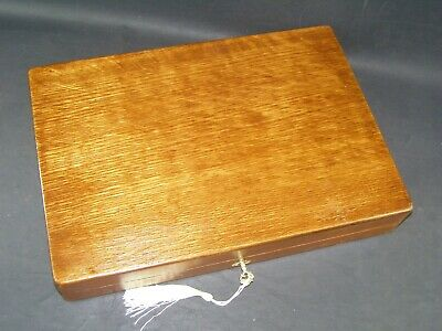 Antique A4  Document Box Working Lock & Key c1890 English Oak + Stay Up Hinges