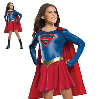 Official Girls Supergirl TV Series Costume Kids Superhero Fancy Dress Outfit