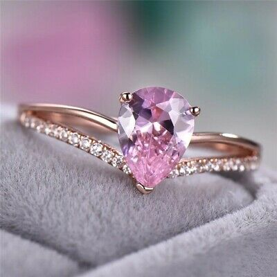 Rose Gold Filled Elegant Jewelry Pear Cut Pink Sapphire Wedding Ring Size 6-10