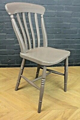 Set of 4 Antique Painted Slat Back Beech & Elm Farmhouse Kitchen Dining Chairs