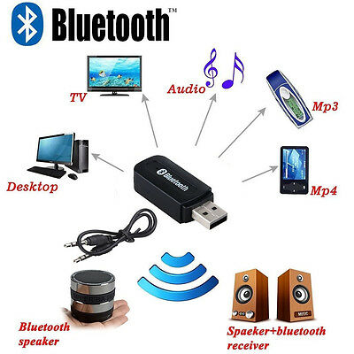3.5mm USB Wireless Bluetooth PC Car Audio Receiver Stereo Music Aux Adapter+Mic