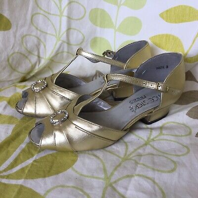 Freed Of London Dance Steps Gold Buckle Dance Shoes Size 3 Uk 36 Eur