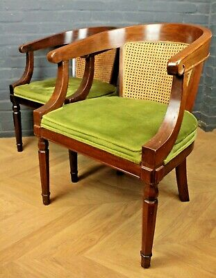 Pair of Antique Mahogany, Bergere & Green Upholstered Library Elbow Chairs c1880