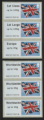 GB Post & Go Union Flag stamps 1st class-Worldwide up to 40g SG FS 39/41 + 42/44