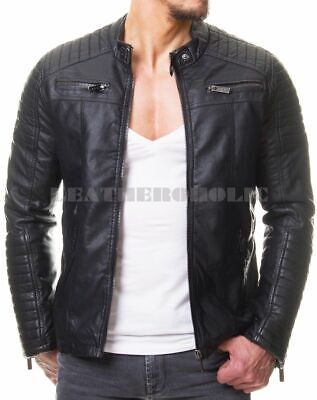 Mens Vintage Black Genuine Leather Jacket Slim Fit Real Biker New Xs-3Xl B59