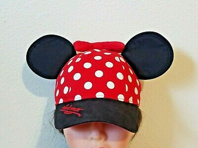 8319b4843 DISNEY MINNIE MOUSE Polka Dot Visor with Ears, Red Black Womens Hat ...